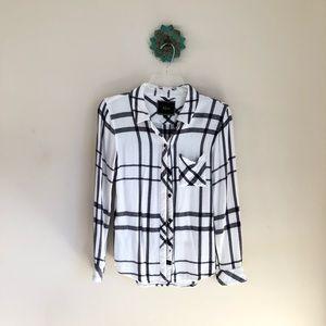 Rails • navy & white flannel plaid top shirt